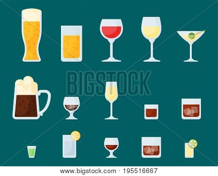 Alcohol drinks beverages cocktail whiskey lager refreshment container and menu drunk concept different glasses vector illustration. Restaurant tequila rum party pub cognac.