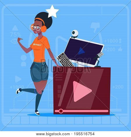 African American Girl Over Vlogger Channel Screen Modern Video Blogger Vlog Creator Flat Vector Illustration
