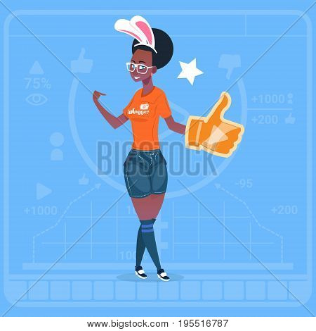 African American Girl Hold Thumb Up Modern Video Blogger Vlog Creator Channel Like Flat Vector Illustration