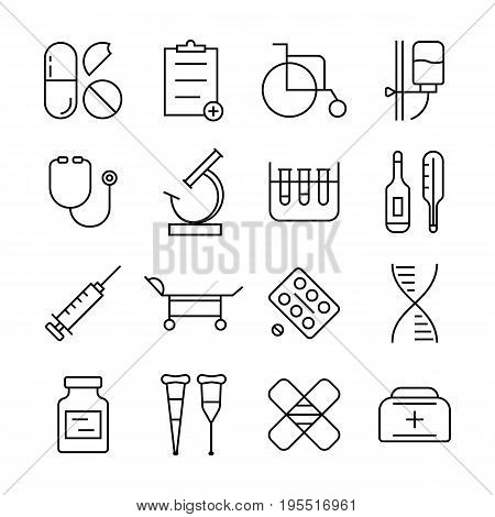 thin line medical items set. concept of healthcare, contour minimal emblems, illness, medicament, unhealthy, drug. isolated on white background. flat style trend modern logo design vector illustration