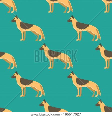Funny cartoon shepherd dog character bread seamless pattern happy puppy friendly mammal vector illustration. Domestic element flat comic adorable mascot canine.