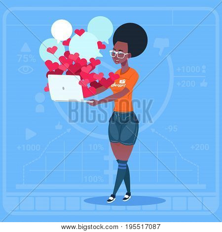 African American Girl Blogger Hold Computer With Many Likes Modern Video Blogs Creator Popular Vlog Channel Flat Vector Illustration