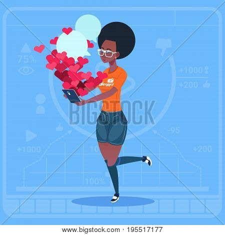 African American Girl Blogger Hold Laptop With Many Likes Modern Video Blogs Creator Popular Vlog Channel Flat Vector Illustration