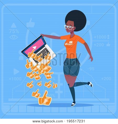 African American Girl Hold Laptop With Thumb Up Modern Video Blogger Vlog Creator Popular Channel Like Flat Vector Illustration