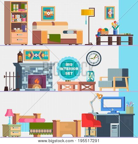 Big detailed Interior set. Home furniture. Interior design. Set of elements cupboard, sofa, fireplace, coffee table, lamp flowers pictures Flat vector illustration