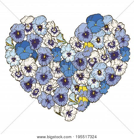 Heart of violets flowers isolated on white background. Vector