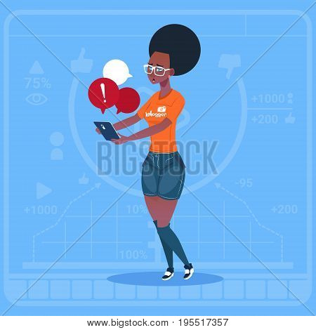 African American Girl Blogger Hold Cell Smart Phone With Warning Sign Modern Video Blogs Creator Vlog Channel Flat Vector Illustration