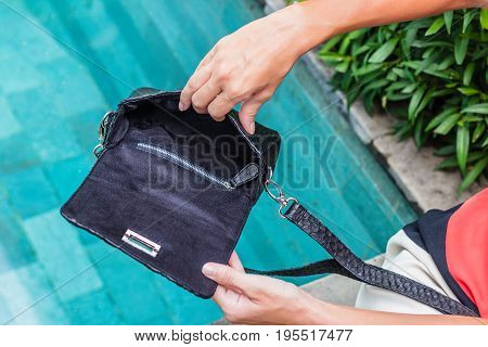 Bags fashion trends. Close up of gorgeous stylish snakeskin python bag. Luxury handmade handbag closeup.