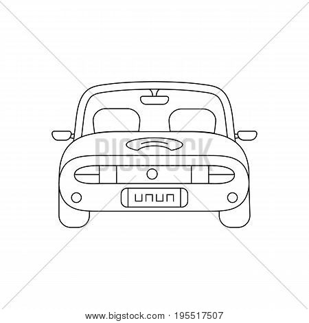 black thin line car back view. concept of gig, vehicular, driverless, vacation, cart, development, draft car. isolated on white background. fine line style trend modern design vector illustration