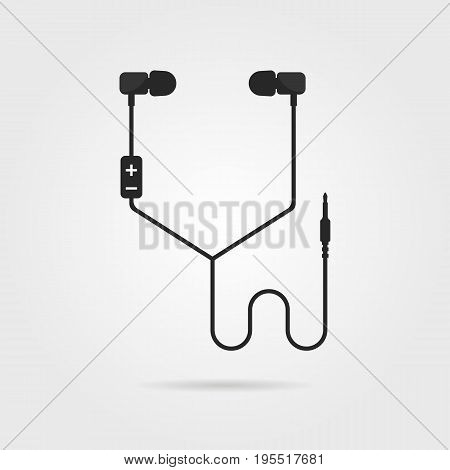 black earphones with shadow. concept of meloman items, earbud, ear plugs, multimedia, hipster lifestyle, tune. isolated on gray background. flat style trend modern logo design vector illustration