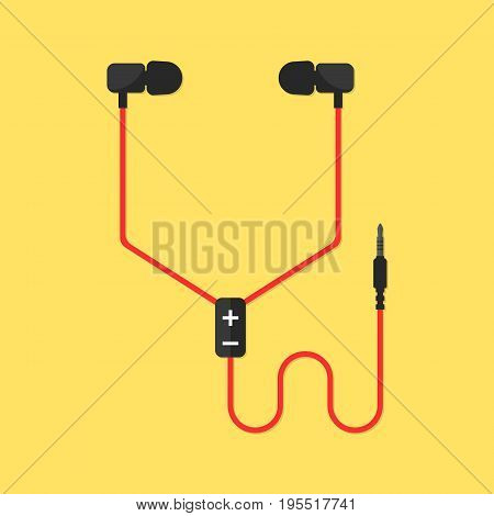 earphones isolated on yellow background. concept of meloman items, earbud, ear plugs, multimedia, hipster lifestyle, tune, surround, record. flat style trend modern design vector illustration