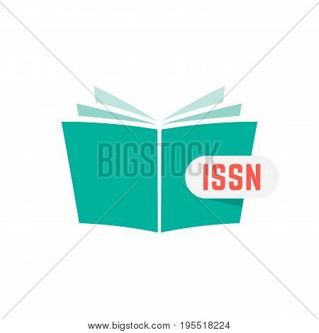 issn sign with green book. concept of publication, identifying, brochure key, commerce, marketing, knowledge. isolated on white background. flat style trend modern logotype design vector illustration