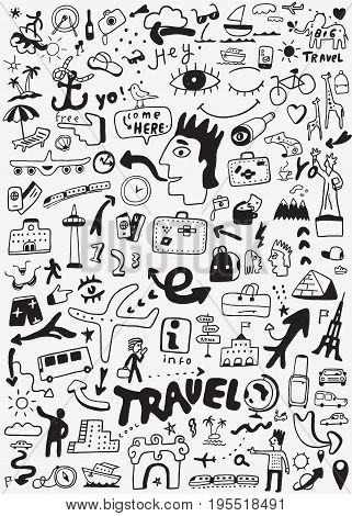 travel icon set in sketch style , design elements