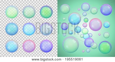 Set of colorful soap bubbles with different colors with transparency isolated on a checkered background. And beautiful design of these bubbles on a luminous green background. Vector illustration