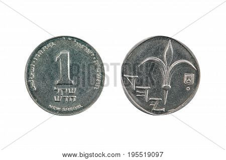 One new Israeli shekel front and back cut out and isolated on a white background