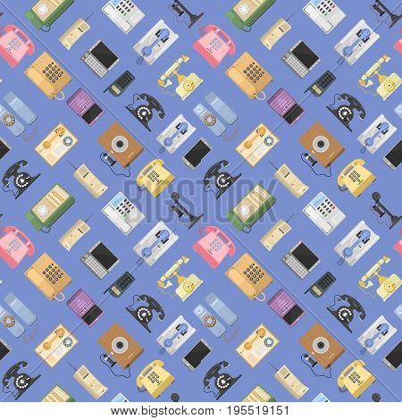 Telephones vector icons tools sealess pattern background phone equipment communication. Classic telephones technology support symbols