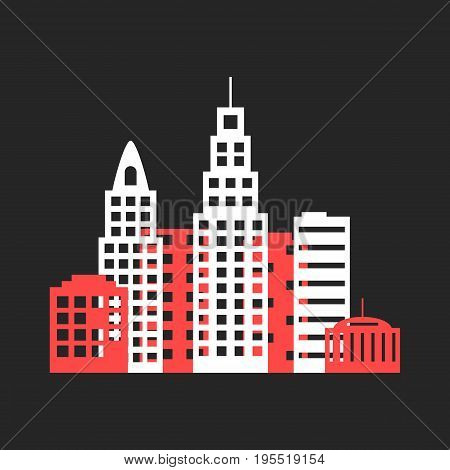 colored cityscape icon like origami. concept of city skyline, city icon, city street, city night, city scape. isolated on black background. flat style trend modern city logo design vector illustration