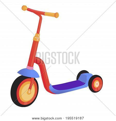 Cartoon cute color kick scooter. Push scooter isolated on white background. Eco transport for kids. Vector