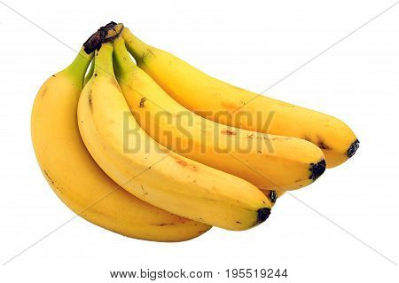 Bunch of ripe bananas cut out and isolated on a white background