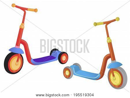 Two cute color kick scooter. Push scooter isolated on white background. Eco transport for kids. Vector