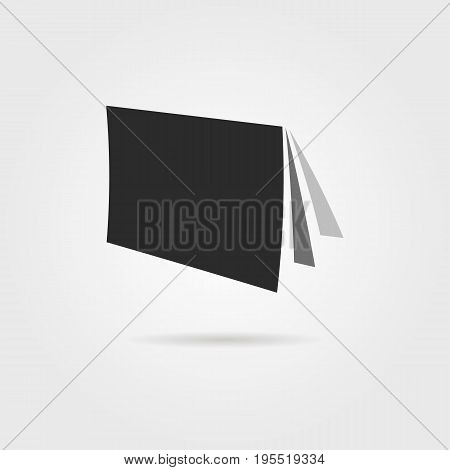 black journal icon with shadow. concept of journal cover, book icon ebook, book shelf, book cover, journalism. isolated on gray background. flat style trend modern book logo design vector illustration