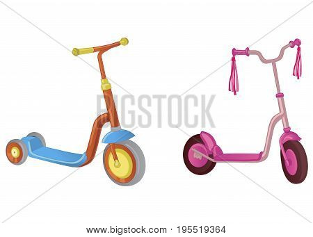 Two cute color kick scooter. For boy and girl. Push scooter isolated on white background. Eco transport for kids. Vector