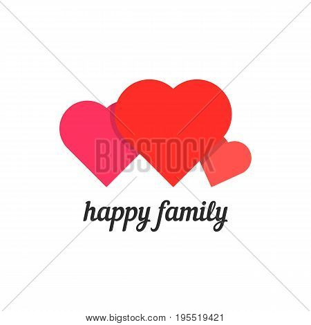 happy family with three hearts. concept of parental care, mom, dad, son, husband, wife, safety, parental control. isolated on white background. flat style trend modern brand design vector illustration