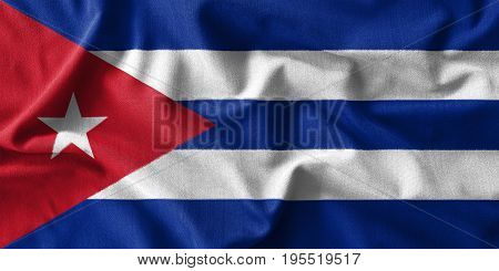 Cuba flag painting on high detail of wave cotton fabrics . 3D illustration .