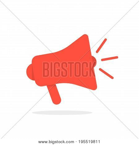 red megaphone icon with shadow. concept of display advertising, sharing info, disseminating information. isolated on white background. flat style trend modern logotype design vector illustration