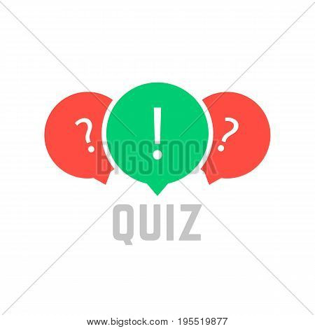 quiz button with speech bubble. concept of faq, dialog, interview, competition, quiz show, quizzes, vote. isolated on white background. flat style trend modern quiz logo design vector illustration