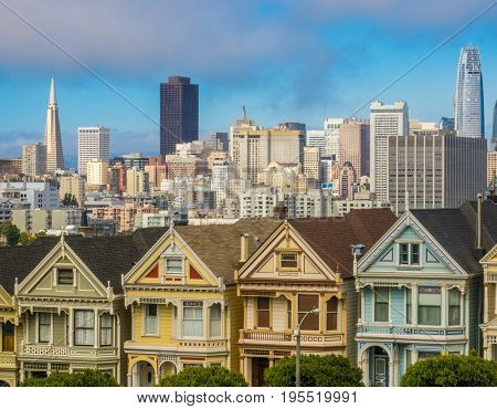 San Francisco Skyline With Old Vicorian Townhouses (Painted Ladies) Against Modern Skyscrapers