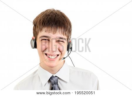 Cheerful Teenager with Headset Isolated on the White Background