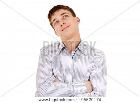 Pensive Teenager is Thinking Isolated on the White Background