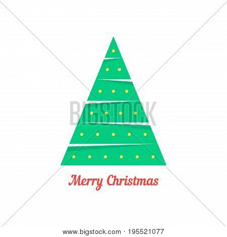 merry christmas with abstract xmas tree. concept of fun sticker, fur-tree branch, fir tree, celebrate. isolated on white background. flat style trend modern christmas card design vector illustration