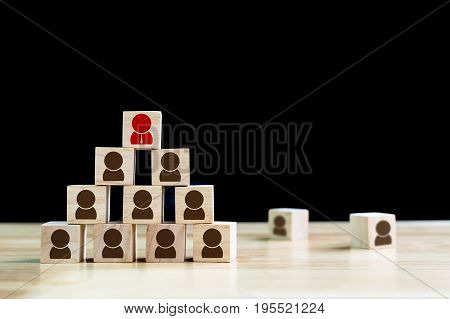 Human resource management and recruitment business concept Wood cube building