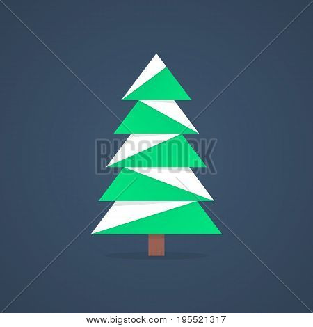 christmas tree icon with snow. concept of christmas tree silhouette, spruce, family event, nativity. christmas tree isolated on dark background. flat style trend modern logo design vector illustration