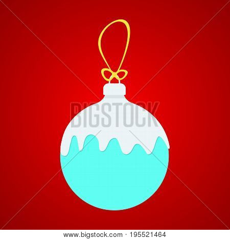 blue x-ball with white snow on yellow string. concept of christmas balls snow. christmas ball isolated on red background. flat style trend modern logo design christmas balls vector illustration