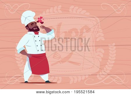 African American Chef Cook Happy Smiling Cartoon Restaurant Chief In White Uniform Over Wooden Textured Background Flat Vector Illustration