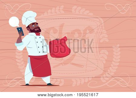 African American Chef Cook Holding Packet With Food And Mobile Phone Restaurant Delivery Concept Chief Over Wooden Textured Background Flat Vector Illustration