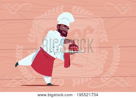 African American Chef Cook Holding Dessert Dish Smiling Cartoon Chief In White Restaurant Uniform Over Wooden Textured Background Flat Vector Illustration