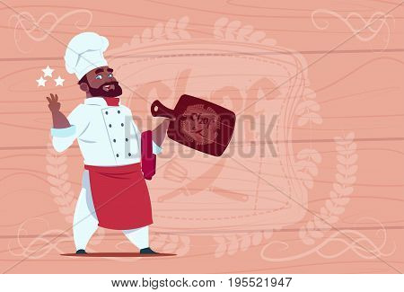 African American Chef Cook Hold Star Award Smiling Cartoon Restaurant Chief In White Uniform Over Wooden Textured Background Flat Vector Illustration