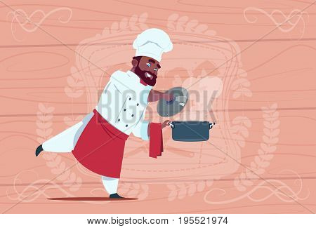 African American Chef Cook Holding Saucepan With Hot Soup Smiling Cartoon Chief In White Restaurant Uniform Over Wooden Textured Background Flat Vector Illustration