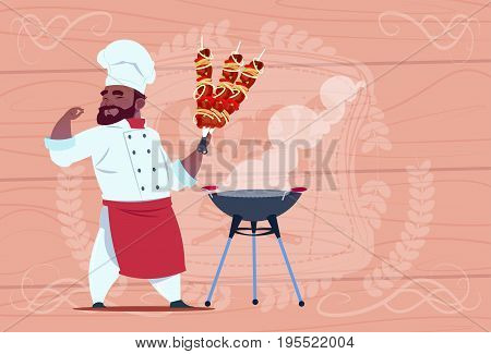 African American Chef Cook Hold Kebab Smiling Cartoon Restaurant Chief In White Uniform Over Wooden Textured Background Flat Vector Illustration