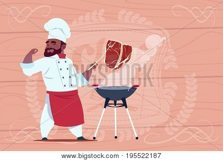 African American Chef Cook Grill Meat On Bbq Cartoon Restaurant Chief In White Uniform Over Wooden Textured Background Flat Vector Illustration
