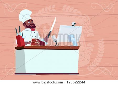 African American Chef Cook Making Video Blog Cookong At Computer Desk Streaming Cartoon Restaurant Chief In White Uniform Blogger Flat Vector Illustration