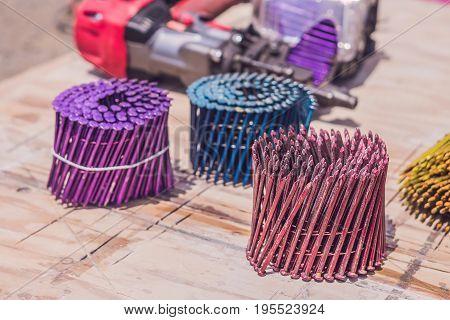Multicolored Nails For Pneumatic Nail Gun