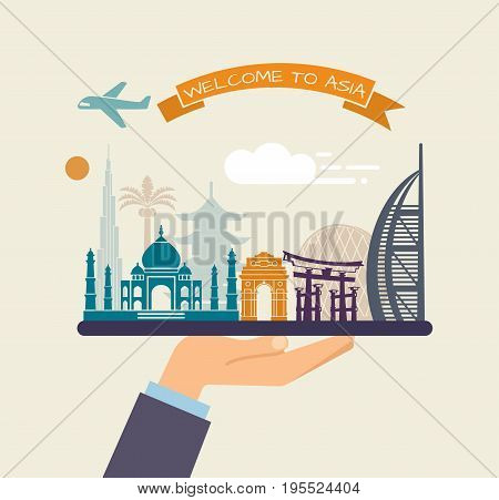 The hand holds the sights of Asia on a tray. The plane and the words welcome to Asia on the ribbon