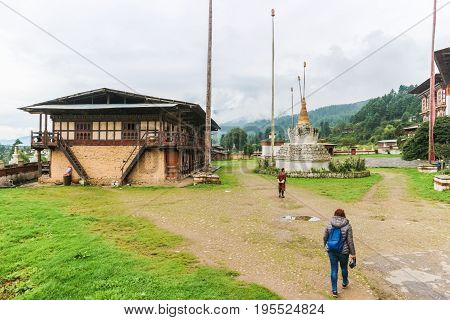 Bumthang, Bhutan - September 13, 2016: Kurjey Lhakhang (the Temple Of Imprints) In  Bumthang Valley,