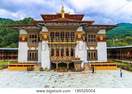 Bumthang Bhutan - September 13 2016: Traditional Bhutanese temple architecture in Bhutan South Asia. View from the courtyard of the temple.