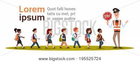 Policeman Guard Stop Group Of School Children Flat Vector Illustration